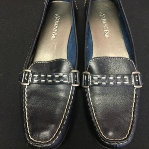 St John Bay Black Leather Loafer Size 7